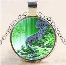 Tiger Mother And Baby Cabochon Glass Tibet Silver Chain Pendant Necklace#1186