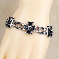 Men's Alloy Silver Gothic Iron Cross Skull Chains Link Fashion Bangle Bracelets