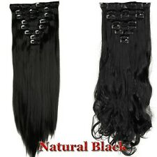 US Full Head 18clips Clip in on Hair Extensions Real thick as human hair 8pcs