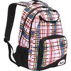 NEW ROXY BACKPACK BOOK SCHOOL STUDENT BAG Shadow Swell White Multicolor Plaid