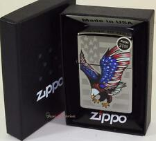 Zippo High Polish Chrome American Bold Eagle Flag Windproof Lighter Made In USA