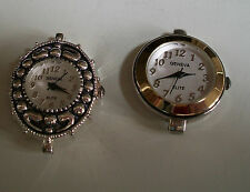 SET OF 2 SILVER/GOLD FINISH DIAL WATCH FACES FOR BEADING,RIBBON OR OTHER USE