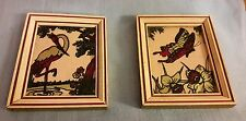 VINTAGE ANTIQUE PICTURE PAIR REVERSE PAINTED ON GLASS 2 PICTURES 3 3/4 X 4 5/8
