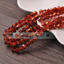 50pcs 6mm Bicone Faceted Glass Crystal Loose Spacer Beads Findings Orange