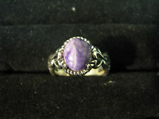 CAROLYN POLLACK Sterling Silver PURPLE CHAROITE RING Open-Work SCROLL SIGNET 7