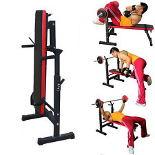 Weight Training Bench Folding Adjustable Barbell Stand Multi Gym Fitness Chest