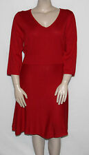 NEW Spense Plus Size 1X RED 3/4 Sleeve A-Line Sweater Dress V-Neckline $89.00