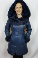 Blue 100% Sheepskin Toscana Shearling Leather Lambskin Hood Jacket Coat XS-6XL