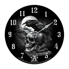 "Poe's Raven Crown Skull Curse Wall Clock By Alchemy Gothic Round Plate 13.5""D"