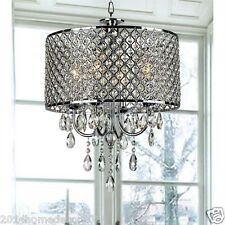 Romantic Crystal Chandeliers Pendant Light 4 Lights Ceiling Lamp Drum Round 60W
