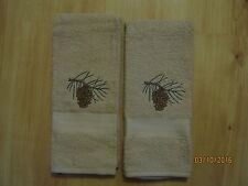 New 2 PINECONE Embroidered Hand Towels,Northwoods, cabin decor, up north
