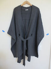 NEW Hayden BLACK Soft Wool Belted Blanket Poncho Cardigan XS/S $315