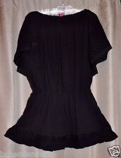 Victorias Secret Beach Sexy Flyaway Eyelet Cotton Dress Cover Up Black  Small