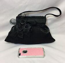 Señoras 50s Vintage pequeños Tul Negro Satinado Floral Noche Bolso Bolso de mano