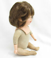 VTG/ANTIQUE/OLD BABY DOLL COMPOSITION JOINTED STRAW BODY REAL HAIR??