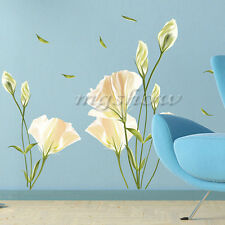 Removable White Lily Flower Home Living Room Mural Art Decal DIY Wall Stickers