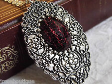 #JRK1110 Red Black Vampire Blood Necklace Silver Steampunk Goth Rockabilly Cameo