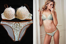 Victoria's Secret Dream Angels Opal Blue Bronze Brown Push Up 36C Bra&Panty Set
