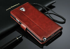 New Genuine Real Leather Photo Flip Wallet Case Cover For Samsung Galaxy Models