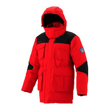 FUERZA Mens Winter Down Wellon Mid-Thigh Parka Jacket Coat - Red/Black - Large