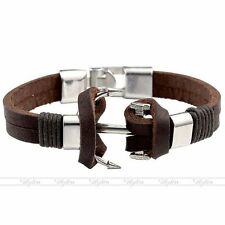 Men Genuine Leather Bracelet Silver Anchor Nautical Charm Bangle Biker Wristband