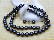 "BEAUTIFUL 10-11MM AAA+ TAHITIAN BLACK PEARL NECKLACE 18"" EARRING 14K WHITE     @"