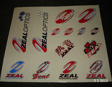 1 AUTHENTIC ZEAL OPTICS SUN GLASSES / GOOGLES STICKER SHEET #9 DECALS AUFKLEBER