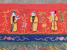 Huge Antique Chinese Embroidery Silk Figural Wall Hanging Banner/Panel 463X50cm