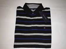 NWT, TOMMY HILFIGER MENS CUSTOM FIT POLO SHIRTS-SMALL- BLACK / WHITE STRIPES