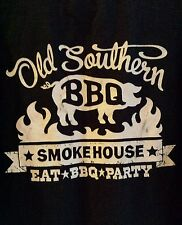 Old Southern Barbeque Black T Shirt Smokehouse Authentic Certified Pit Smoked