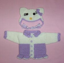 American Girl Purple Hello Kitty Sweater & Hat Fits Bitty Baby/Berenguer 15-17