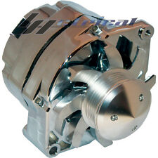 NEW ALTERNATOR FOR GM HOTROD CHROME 1 ONE WIRE 6 GROOVE BILLET PULLEY FAN 110AMP