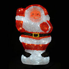 Waving Acrylic Santa Claus Christmas Decoration LED Light Up 45cm Mains Indoor