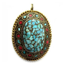Big Thick Tibetan Brass Copper Turquoise Red Coral Gemstone Inlay Amulet Pendant