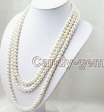 "SALE Super Long 80"" White 6-7mm Round Natural Freshwater Pearl Necklace-nec1074"