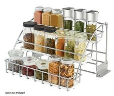 NEW Kitchen In-Cabinet Pull-down Metal White Spice-Rack Storage Organizer Holder