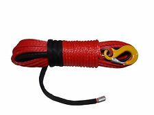 Red 3/8inch*94ft Synthetic Winch Rope,Plasma Winch Cable with Hook and Thimble