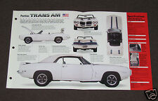 1969 PONTIAC FIREBIRD TRANS AM Car SPEC SHEET BROCHURE PHOTO BOOKLET