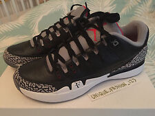 NIKE Zoom VAPORE AJ3 Air Jordan 3 Federer Nero Cemento US 9.5 UK 8.5 43 RF BIANCO