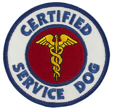 """CERTIFIED SERVICE DOG Sew-On SD-001 Embroidered Patch 3"""" Dia. - FREE SHIPPING!"""