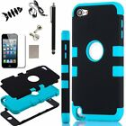 For iPod Touch 5 5th Gen -HARD & SOFT RUBBER HIGH IMPACT ARMOR CASE HYBRID COVER