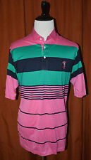 Super RARE! Disney Mickey Mouse Polo Golf Shirt Men's XL Pink Green Blue JAPAN