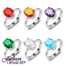 10 Pcs 1 Set Rainbow Color Oval Blue Red Purple Yellow Green Topaz Silver Rings