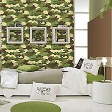 Rasch Green & Brown Soldier Camouflage Army Wallpaper 222821