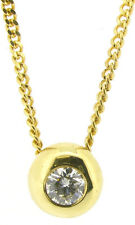 Diamond pendant 0.34Carat round H VVS1 18ct yellow gold 18inch flat curb chain