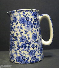 Heron Cross Pottery Small Blue Flower Chintz English 1/2 Pint Milk Jug