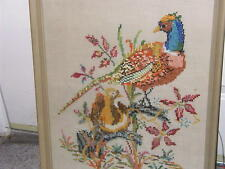 ANTIQUE FRAMED NEEDLEPOINT  EMBROIDERY CROSS STITCH ORIGINAL FRAME w/glass
