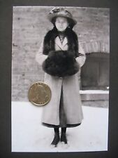 "Victorian 5"" x 7"" Glass Plate Negative Young Girl w Mink Coat & Muff  c1900"