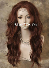 Heat SAFE Lace Front Wig Long Wavy SOLID Copper Red sy 130