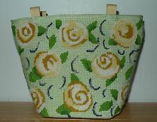 Vintage Tapisserie mini bag - Embroidered flowers + Silk embroidered tree print